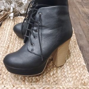 Black lace up booties Charlotte russe